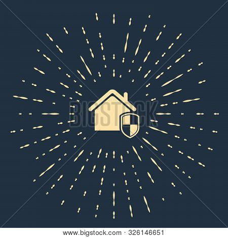 Beige House under protection icon isolated on dark blue background. Home and shield. Protection, safety, security, protect, defense concept. Abstract circle random dots. Vector Illustration poster