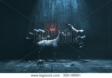 Offering,pity Lost Deer In Abandoned Place With Monster Whom Hiding And Waiting For Their Prey,3d Il