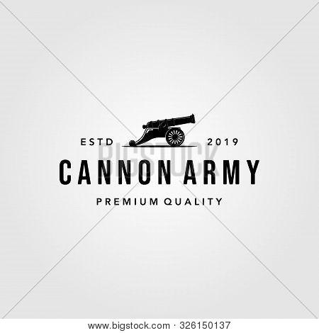 Vintage Cannon Icon Logo Vector Isolated White Background Illustration