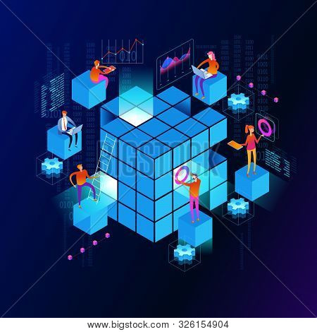 People In The Team Analyze Diorrams And Graphics. Data Visualization Concept. 3d Isometric Vector Il