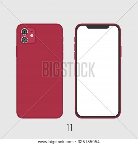 Newly Released Red Smartphone 11, Frond And Back Sides Isolated On Gray.