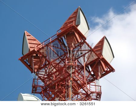Horn Antennas Atop Transmitting Tower