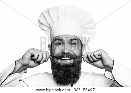 Funny Chef With Beard Cook. Beard Man And Moustache Wearing Bib Apron. Portrait Of A Happy Chef Cook