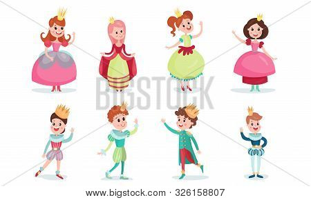 Set Of Vector Illustrations With Young Fairy Princes And Princesses In Crowns Cartoon Characters