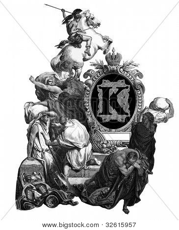 "Luxurious Victorian initials letter K, after an engraving by Gustav Dore, ""Jesus, banishing merchants from the temple"", edition of the ""Holy Bible"",Russian Empire, circa 1866. poster"