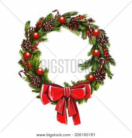 Christmas Wreath, Decorative Christmas Ornament, Art Illustration Painted With Watercolors Isolated