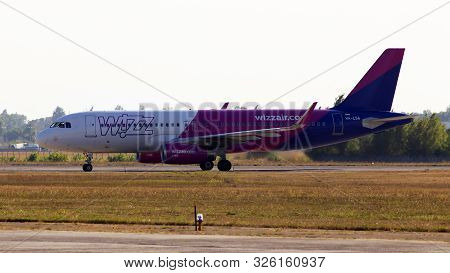 Borispol, Ukraine - September 10, 2019: Ha-lsa Wizz Air Airbus A320-200 Aircraft In The Sunset Rays