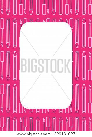 Pink Rectangle Frame With Lip Gloss Pattern