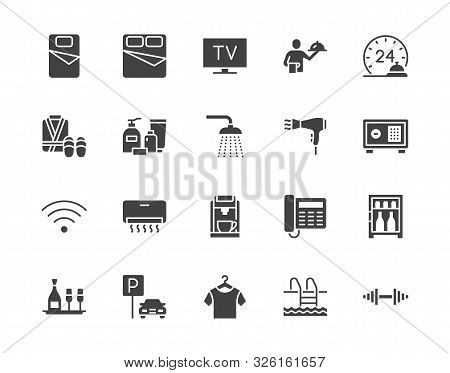 Hotel Room Facilities Flat Glyph Icons Set. Double Bed, Reception, Room Service, Bathrobe, Slippers,
