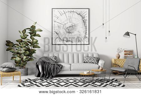 Modern Interior Of Apartment, Living Room With Grey Sofa, Armchair, Coffee Tables And Plant 3d Rende