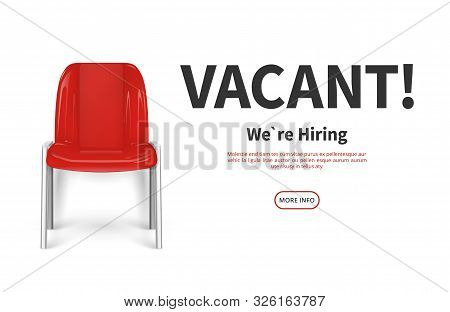 Hiring Concept. Red Vacant Chair. Vector Job Recruiting Web Banner. Vacant Place Vacancy Illustratio