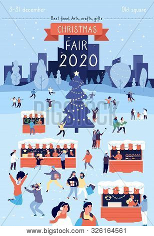 Christmas Fair Poster. Xmas Traditional Bazaar In December Flyer Design. Winter Holiday Festival Gat