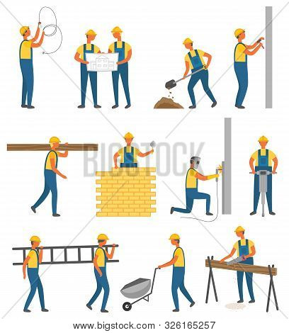 Worker Holding Light Bulb, Putty Knife, Hammer And Drill, Saw And Shovel. Construction Equipment Tro