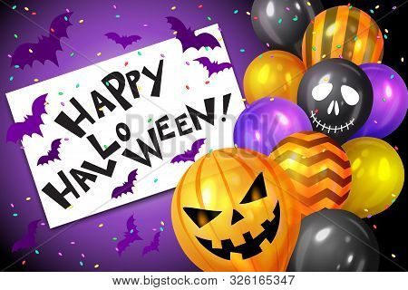 Bunch Of Halloween Balloons, Bats And Confetti And Text Happy Halloween. Flying Bunch Of Shiny Hallo