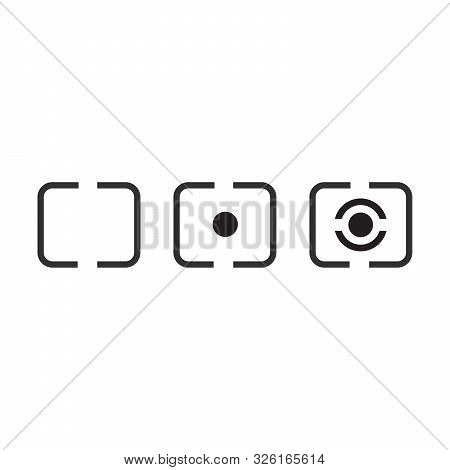 Digital Photography Camera Metering Mode Icon Set, Stock Vector Illustration Isolated On White Backg