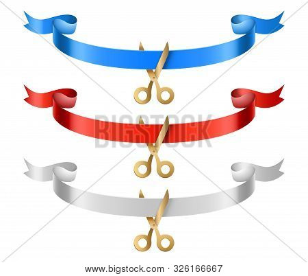 Grand Open Ribbons. Opening Ceremony Silk Ribbons With Scissors Vector Set. Illustration Grand Cerem