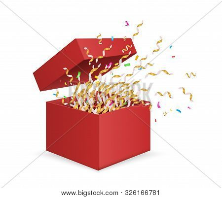 Surprise Box. Opening Gift Box With Confetti. Vector Christmas, Birthday, Anniversary Present Isolat