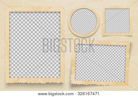 Vintage Photo Frame. Vector Frames Template With Transparent Backdrop. Photo Design Empty Frame For