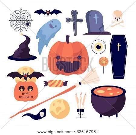 Halloween Set. Spider Web And Pumpkin, Bat And Coffin, Grave And Moon, Broom And Skull, Sweets And C