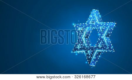 Star Of David. Six Pointed Geometric Star, Symbol Of Modern Jewish Identity And Judaism Israel. Abst