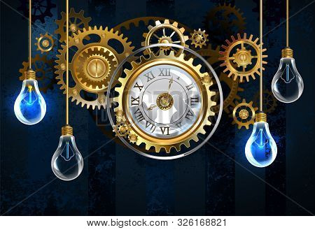 Antique, Broken Clock In The Steampunk Style With Gold And Brass Gears On Dark, Blue, Textured Backg