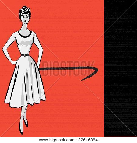 1950's Style Retro Message Background With A Stylish Lady