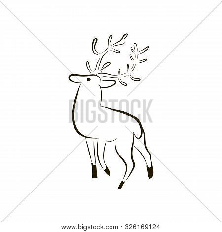 Isolated Deer Silhouette. Deer On White Background Close-up. Hand Drawing Character Deer. Symbol Of