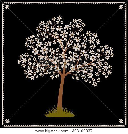 Tree Blooming With White Flowers. Stylized Vector Image. Eps 10
