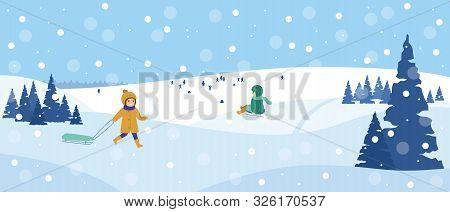 Beautiful Snowy Landscape. Winter Scene With Playing Children. Winter Fun, Sledding, Walk. Vector Il