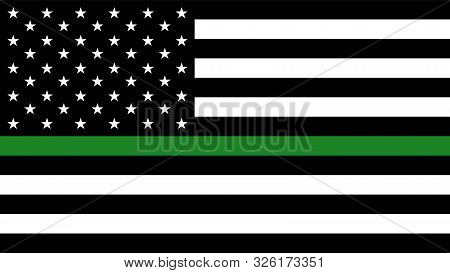 Usa Flag With A Thin Green Line - A Sign To Honor And Respect American Border Patrol, Park Rangers A