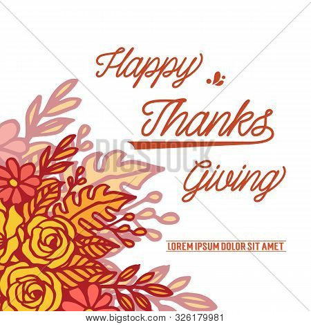 Poster Thanksgiving With Border Of Autumn Leaf Flower Frame Background. Vector