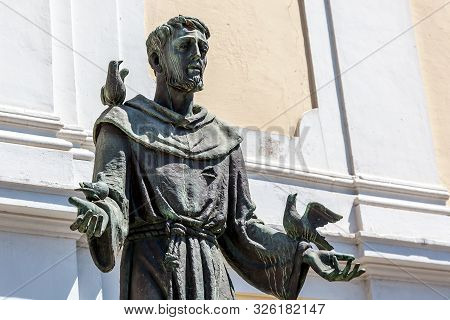 Bronze Statue Of St Francis Of Assisi, Italy.
