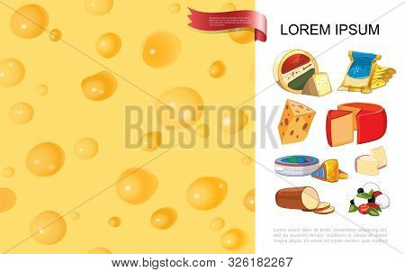 Realistic Organic Cheese Colorful Background With Cartoon Style Mozzarella Cheddar Gouda Raclette Gr