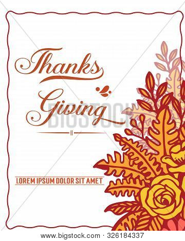 Text Of Thanksgiving With Seamless Autumn Leaf Flower Frame. Vector