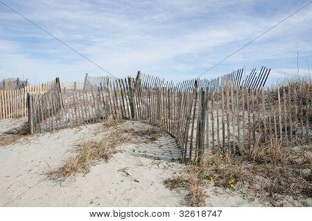 Snow Fences Along the Beach