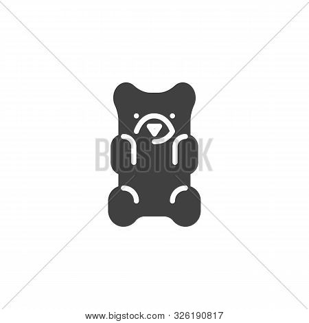 Jelly Bear Candy Vector Icon. Filled Flat Sign For Mobile Concept And Web Design. Gummy Bear Glyph I