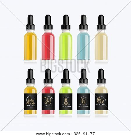 Realistic Bottles Mock Up With Tastes For An Electronic Cigarette With Different Fruit Flavors. Drop