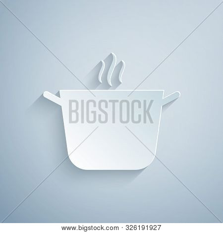 Paper Cut Cooking Pot Icon Isolated On Grey Background. Boil Or Stew Food Symbol. Paper Art Style. V