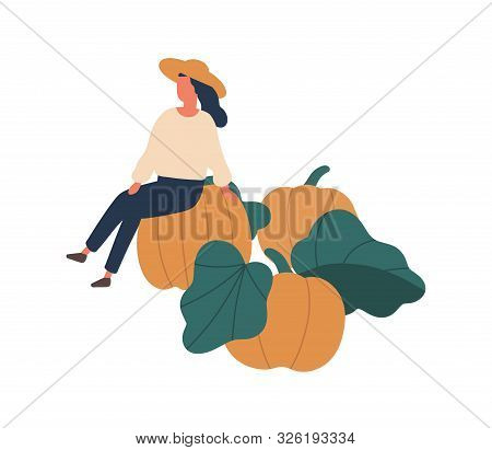 Girl Gathering Pumpkins Flat Vector Illustration. Woman Sitting On Gourd Isolated Design Element. Fe