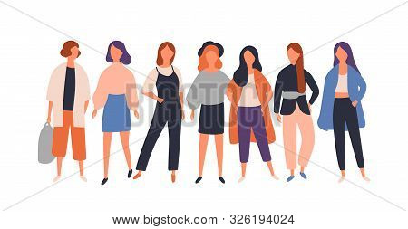 Women Diverse Group Flat Vector Illustration. Young Female Characters Standing Isolated On White. Mo
