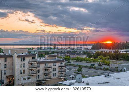 The Sunset Near Chickaloon Bay In Anchorage Alaska.