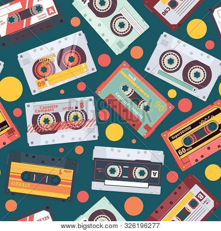 Audio Cassette Pattern. Stereo Mixtape Record Music Items Funky Style Retro Fashioned Vector Seamles