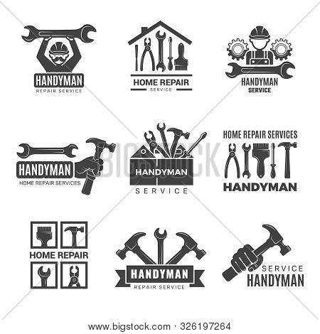 Handyman Logo. Worker With Equipment Servicing Badges Screwdriver Hand Contractor Man Vector Symbols