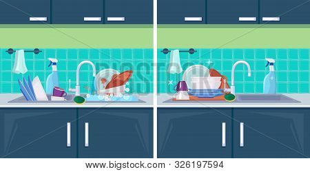 Clean And Dirty Dish. Sink With Kitchenware Items For Washing Cleaning Vector Cartoon Background. Il