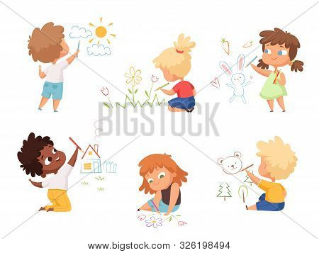 Kids Drawing. Children Artists Educational Funny Cute Childrens Boys And Girls Making Different Pict