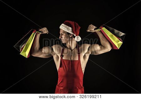Santa Claus For Adult. Sexy Athletic Macho Muscular Chest In Santa Claus Hat. Athlete Muscular Man W