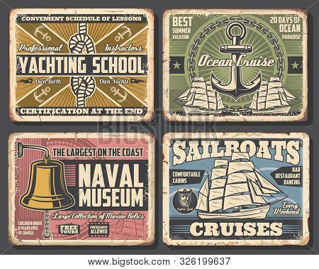 Nautical Vector Design Of Anchors, Chains And Ocean Ship Rope, Sailboat, Compass And Marine Sailor K