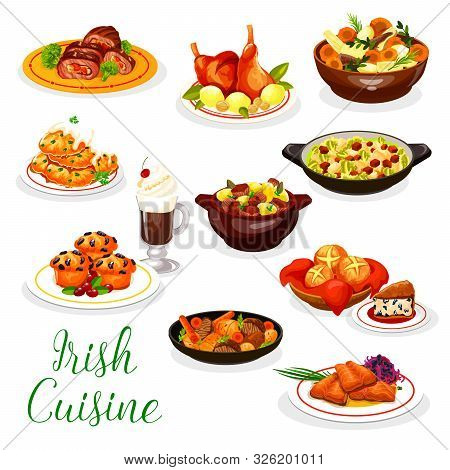 Cuisine Of Ireland Vector Design With Irish Coffee, Meat And Fish Dishes. Vegetable Stews With Rabbi