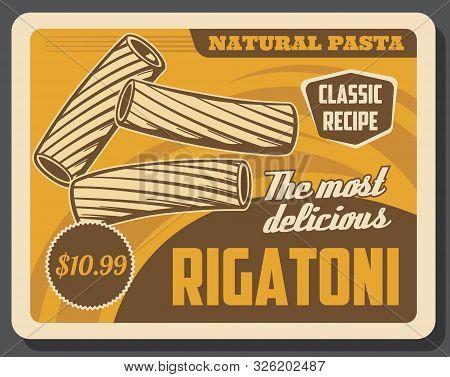 Rigatoni Pasta Or Elbow Macaroni, Italian Food Vector Design. Wholemeal, Wheat And Durum Flour Cooki