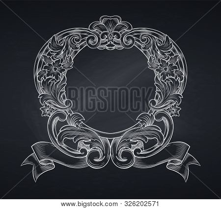 Vintage Emblem Or Cartouche, Engraving. Retro Baroque Frame Border Leaf Scroll Floral Ornament Retro